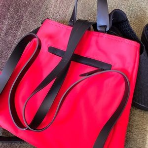 Lancel Backpack Gorgeous  Red Cloth & Leather Bag